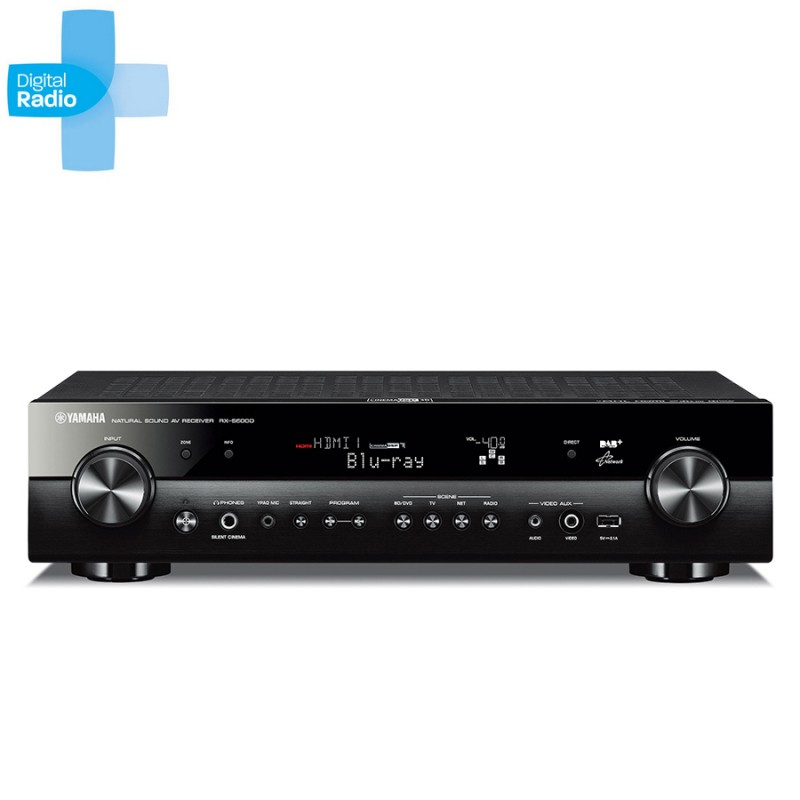 Yamaha rxv 600d 5 1 channel slim line home theatre for Yamaha home theater amplifier