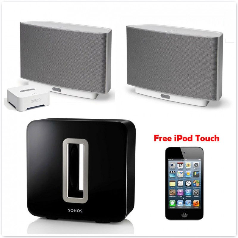 Sonos Sub Amp Play 5 Bundle Pack Free Ipod Touch